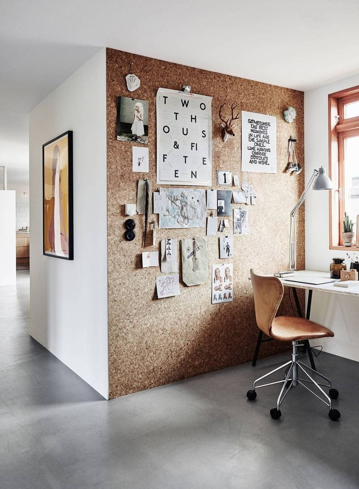 home office with cork wall via theposterclubcom