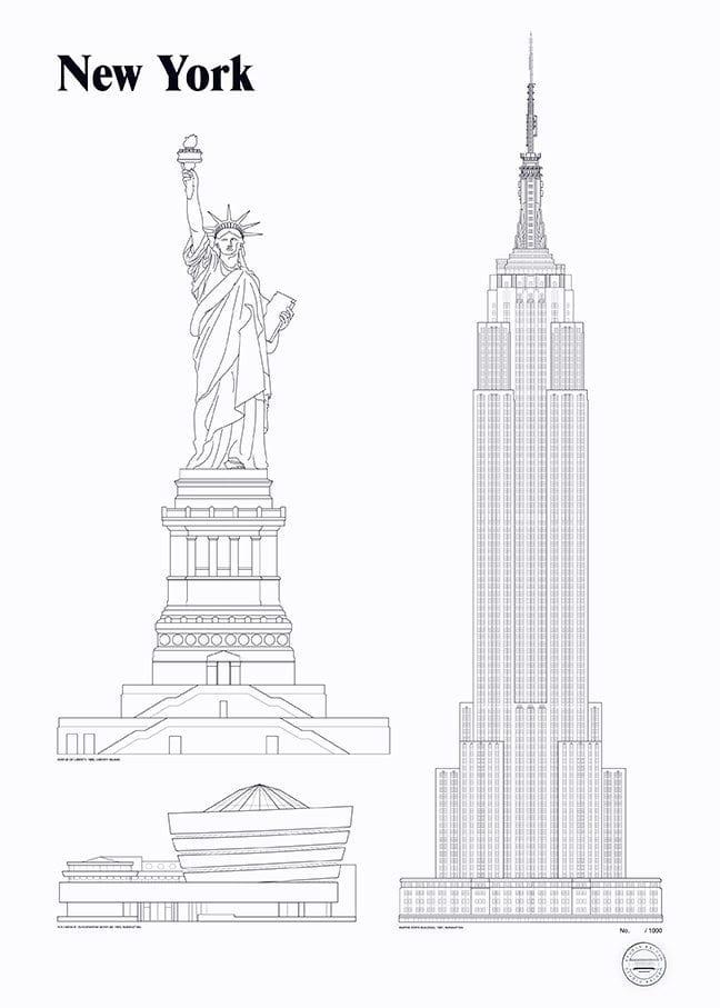 Studio esinam new york landmarks the poster club for New york landmarks
